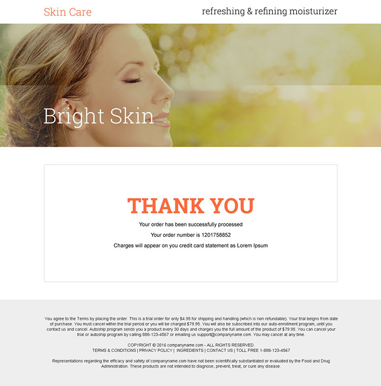 skin care moisturizer cream selling bank page design