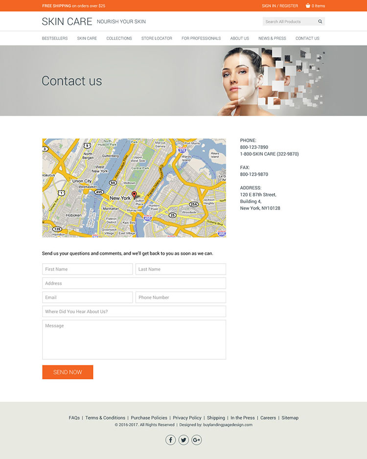 skin care product selling clean website design