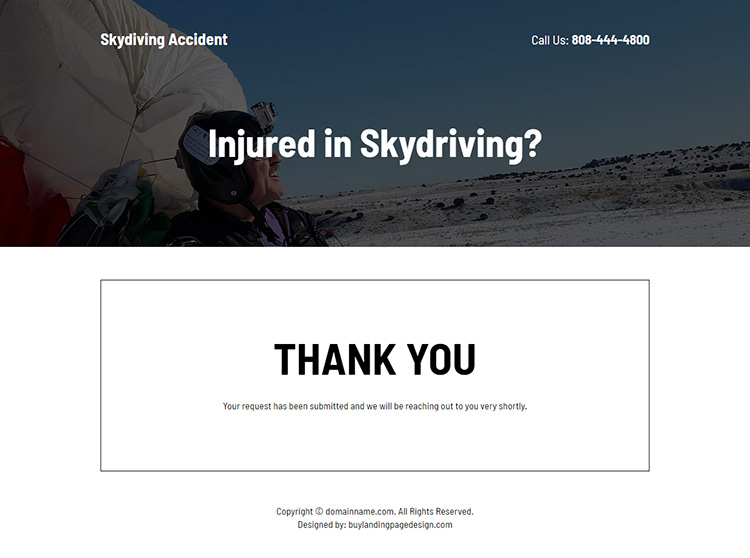 skydiving accident injury claims responsive landing page design