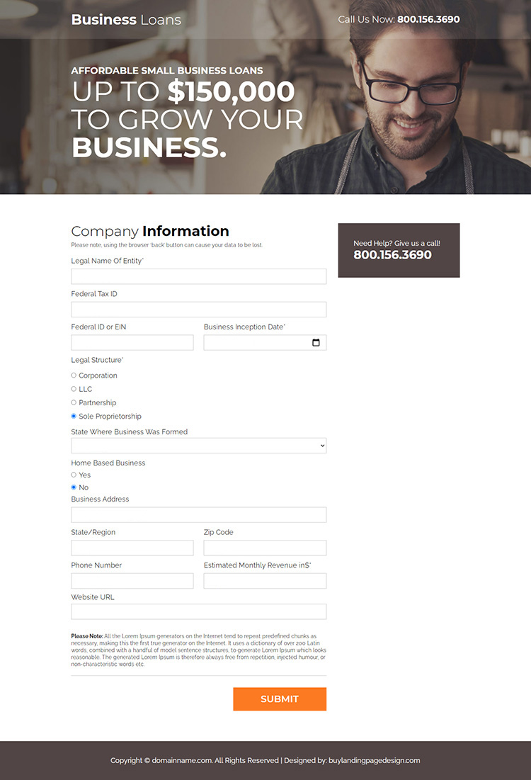 affordable small business loan responsive landing page design
