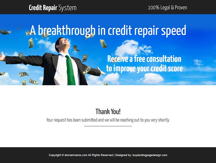 smart credit repair consultation responsive lander design