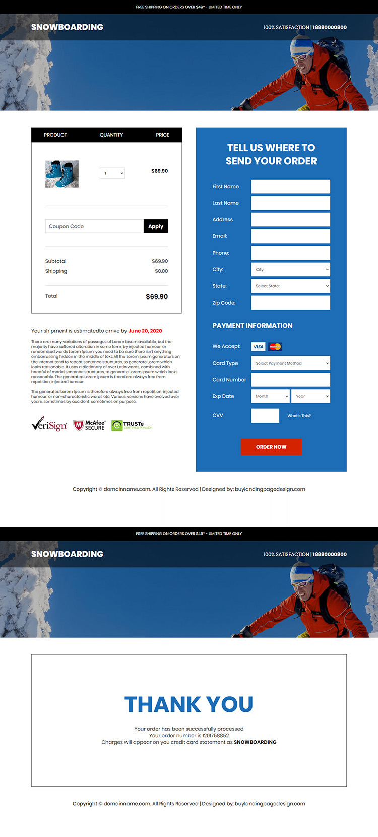 snowboarding products responsive ecommerce landing page design