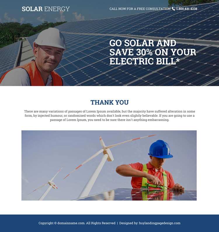 solar energy free consultation lead capturing responsive landing page