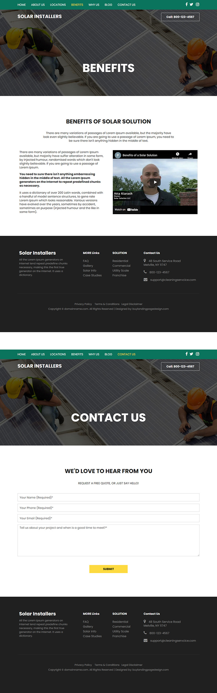 residential and commercial solar solutions website design