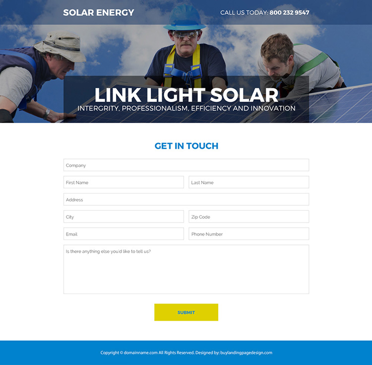 solar energy company responsive landing page