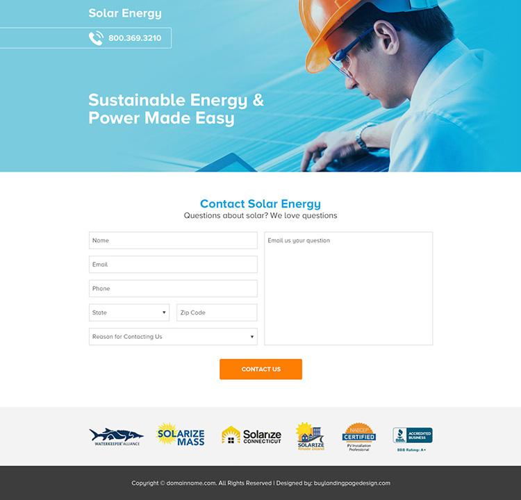 solar energy company lead capture landing page design