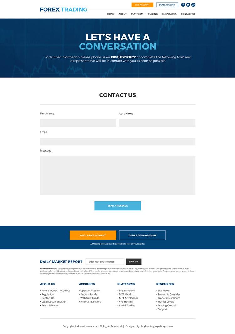 forex trading sign up capturing responsive website design