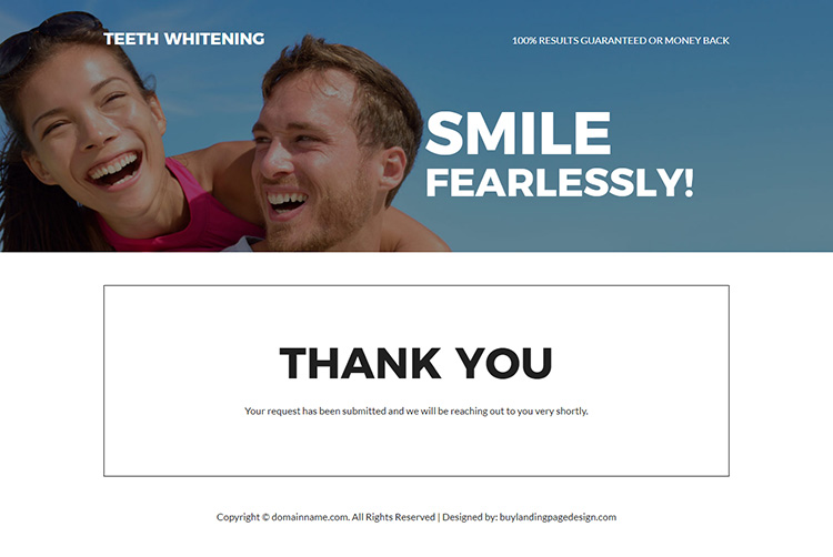 teeth whitening treatment responsive landing page design