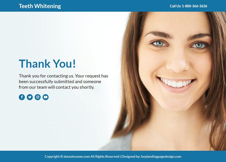 teeth whitening treatment responsive funnel design