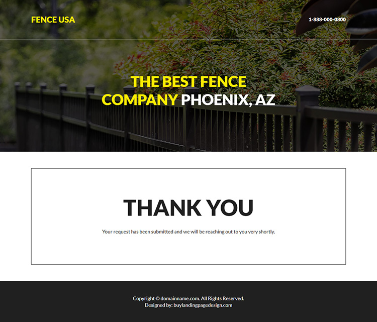 best fencing company responsive landing page design