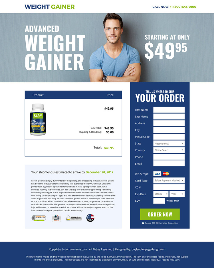 weight gain supplement selling bootstrap landing page