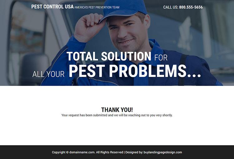 reliable pest control service responsive landing page design