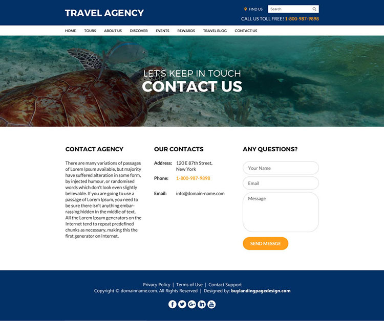 travel agency eye catching and modern website design