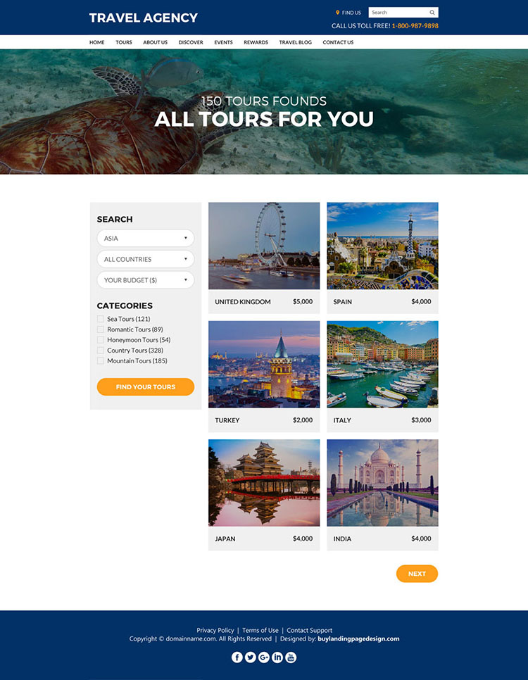 travel agency best converting responsive website design