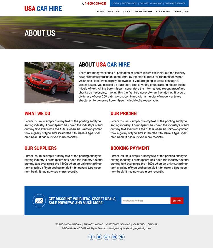 USA car hire services responsive website design