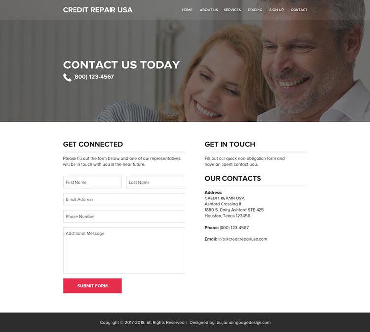 clean and professional credit repair website design