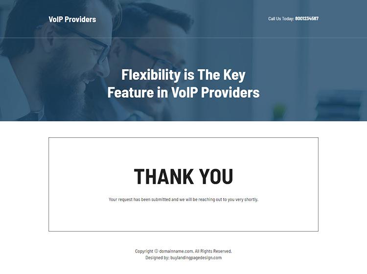 VoIP provider lead capture responsive landing page design