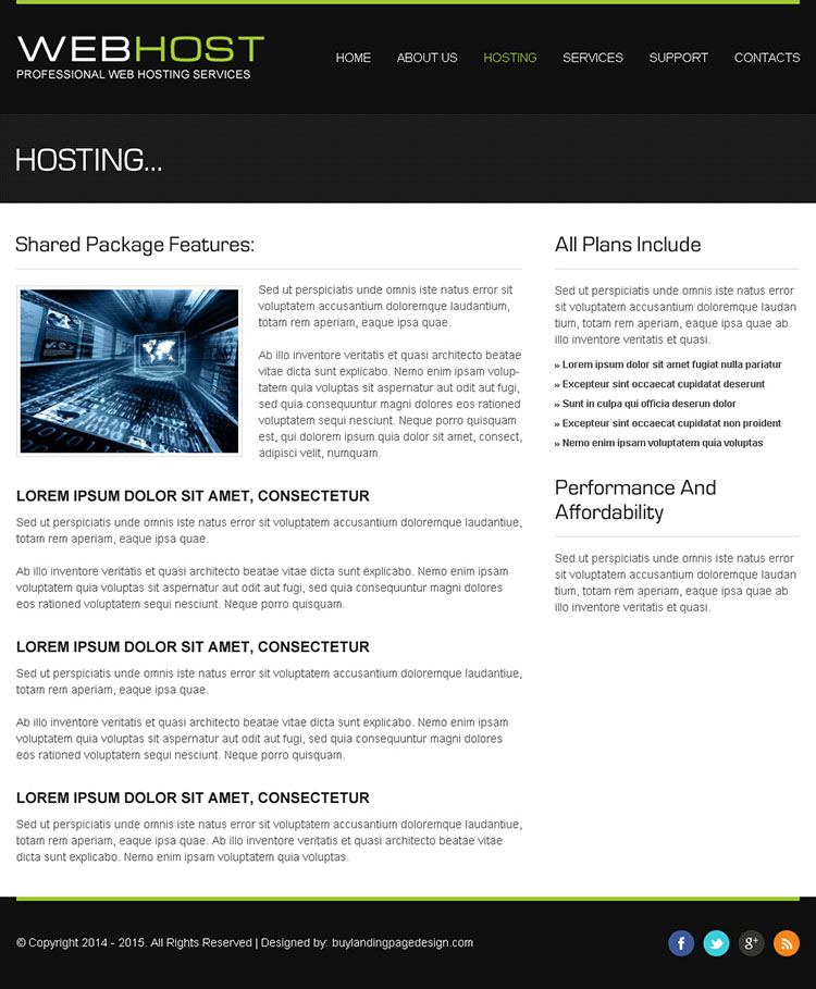 web hosting clean and converting html website template