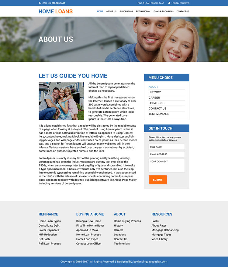home loan service online application website design template