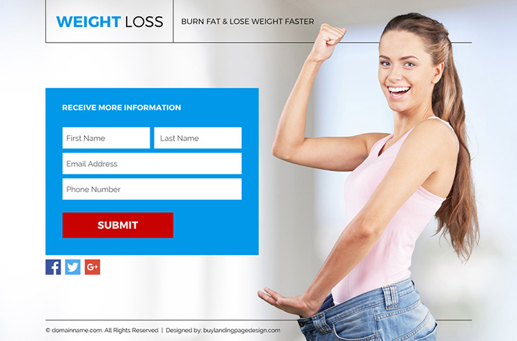 weight loss lead funnel landing page design