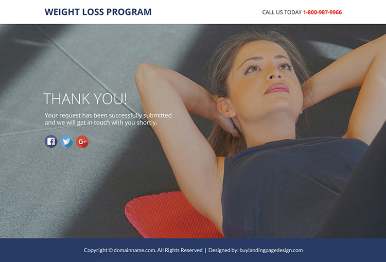 weight loss program lead funnel landing page design
