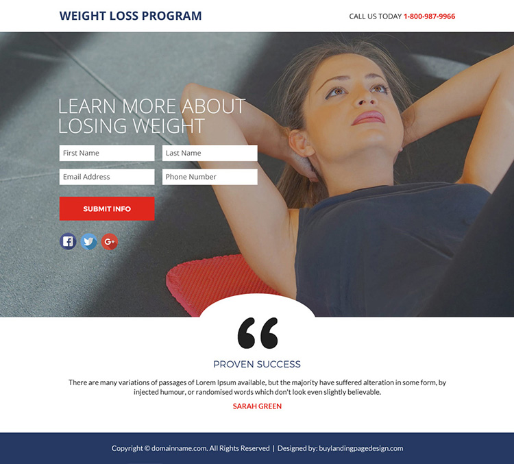 weight loss program lead funnel responsive landing page design