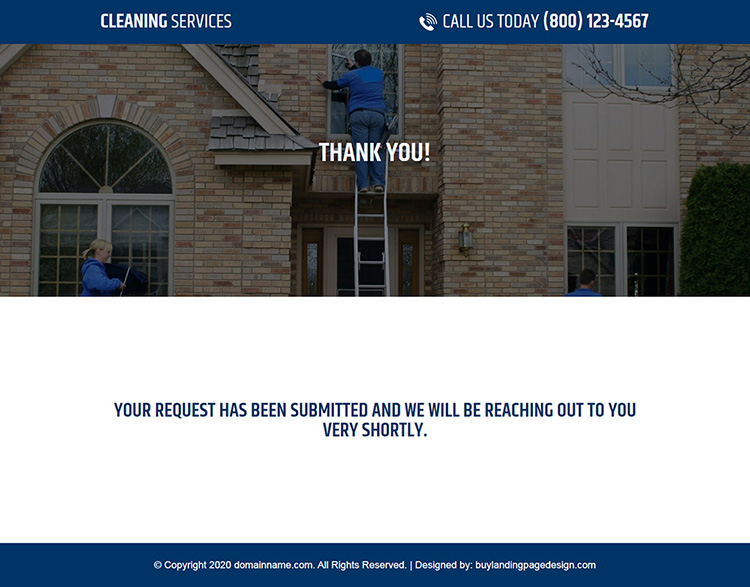 responsive gutter cleaning and pressure washing service company landing page