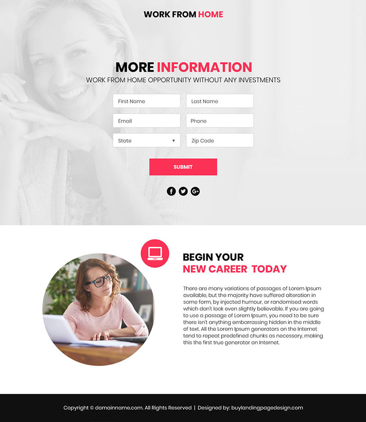 work from home lead funnel video responsive landing page