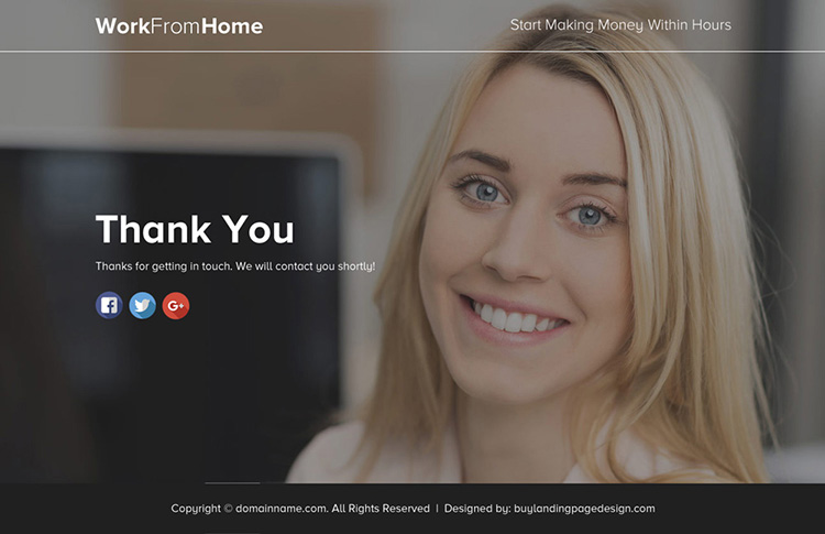 work from home lead funnel landing page design